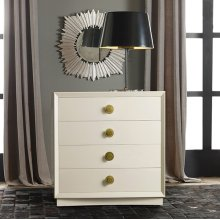 Mod Bedside Chest, Painted Buffed White. Antique Brass Hardware.