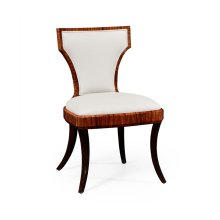 Art Deco Satin Santos Side Chair, Upholstered in Cream Leather