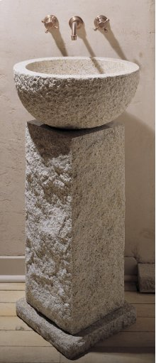 Vessel Pedestal and Pedestal Countertop Beige Granite