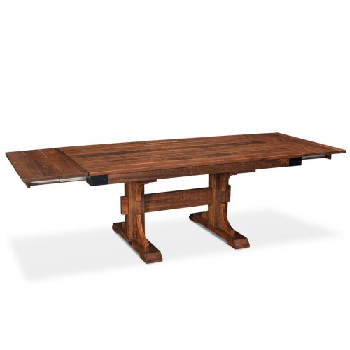"""Montauk Trestle II Table, Montauk Trestle II Table, 42""""x84"""", 18"""" Stationary Butterfly Leaf on Each End"""