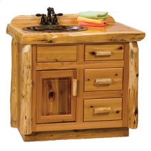 Vanity Base - 42-inch - Natural Cedar - Sink Left