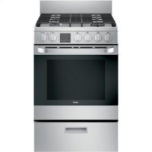 "Haier24"" 2.9 Cu. Ft. Gas Free-Standing Range with Convection and Modular Backguard"