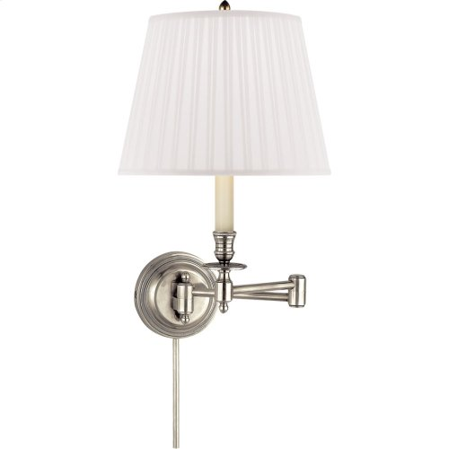 Visual Comfort S2010AN-S Studio Candle Stick 19 inch 60 watt Antique Nickel Swing-Arm Wall Light in Silk