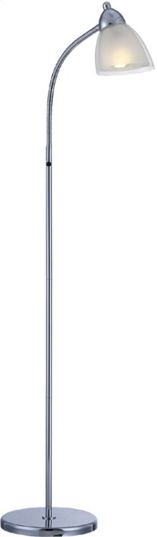Floor Lamp, Chrome, White Acrylic Shade, E27 Cfl 13w