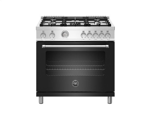 36 inch 5-Burner, Gas Oven Matt Black
