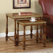 """""""Woodland Oak"""" / """"Antique Brass"""" 2-Pc. Nested Tables - overpacked"""