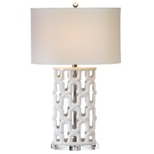 Oversized Ivory with Cutouts Table Lamp. 100W Max. 3 Way Switch.