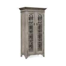 Tall Gothic Grey Oak Wine Cabinet