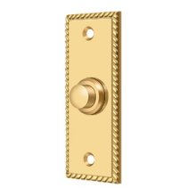 Bell Button, Rectangular Rope - PVD Polished Brass