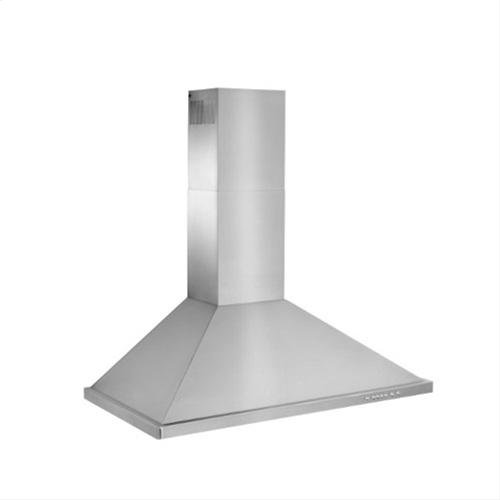 "42"" Brushed Stainless Steel Wall Mount Chimney Hood with Internal 600 CFM Blower"