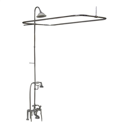 Tub/Shower Converto Unit - Elephant Spout, Shower Ring, Riser, Showerhead, Lever Handles - Polished Chrome
