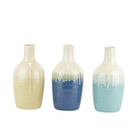 "S/3 Ceramic Drip Glaze Bottle Vases, 7"", Multi"