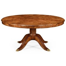 "66"" Walnut Extending Circular Dining Table with Storage Cabinet for Leaves"