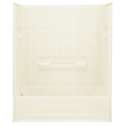 "All Pro®, Series 6104, 60"" x 30"" x 72-3/4"" Bath/Shower - Left-hand Drain - KOHLER Biscuit"