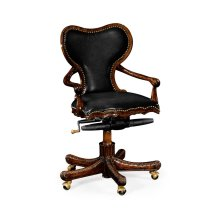 Double Lobed Shaped Mahogany Office Chair, Upholstered in Black Leather