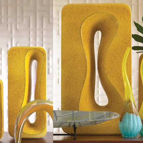 Rectangular Amoeba Vase-Yellow-Lg