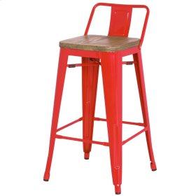 Metropolis Low Back Bar Stool Wood Seat, Red
