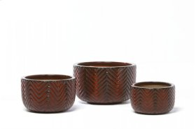 Old Chevron Planter - Set of 3