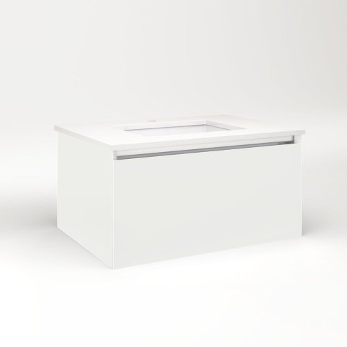 """Cartesian 30-1/8"""" X 15"""" X 21-3/4"""" Single Drawer Vanity In Beach With Slow-close Full Drawer and No Night Light"""