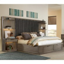 Precision - Full/queen Tall Upholstered Headboard - Gray Wash Finish