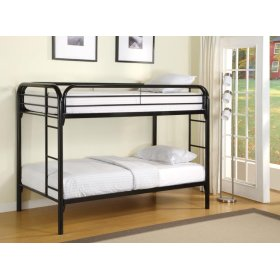 Contemporary Twin Black Metal Bunk Bed