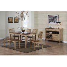DLU-BR3660-C60-BNPW6PC  6 Piece Rectangular Dining Set with Bench