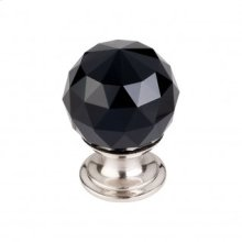 Black Crystal Knob 1 1/8 Inch - Brushed Satin Nickel