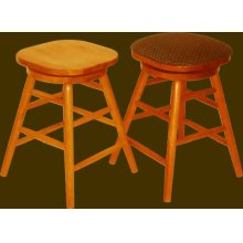 Solid Oak Backless Swivel Straightleg Barstool