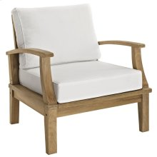 Marina Outdoor Patio Teak Armchair in Natural White