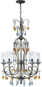 5 Lites Chandelier - Dark Bronze W/crystal, E12 Type B 60wx5 Product Image