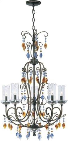 5 Lites Chandelier - Dark Bronze W/crystal, E12 Type B 60wx5