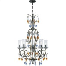 5 Lites Chandelier - Dark Bronze W/crystal, E12 Type B 60wx5