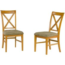 Lexi Dining Chairs Set of 2 with Cappuccino Cushion in Caramel Latte