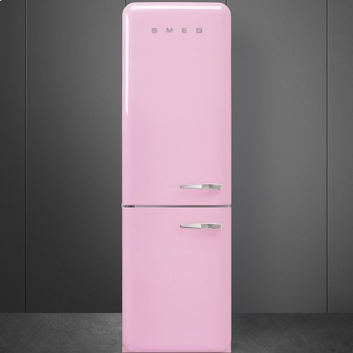 50'S Retro Style refrigerator with automatic freezer, Pink, Left hand hinge