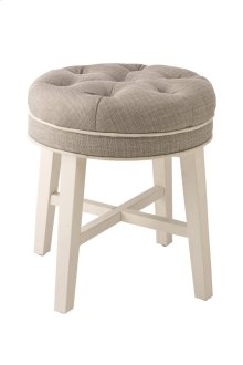 Sophia Vanity Stool With Linen Gray Fabric