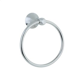 Brookhaven - Towel Ring With Barrel Posts - Polished Chrome