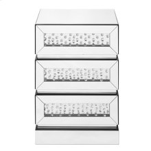 18 inch Crystal three drawers Bedside Table in Clear Mirror Finish
