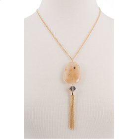 BTQ Gold Tassle with Yellow Stone Necklace