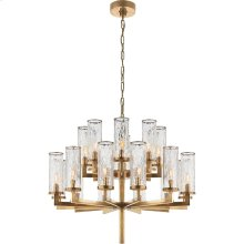 Visual Comfort KW5201AB-CRG Kelly Wearstler Liaison 20 Light 34 inch Antique-Burnished Brass Chandelier Ceiling Light in Antique Burnished Brass, Kelly Wearstler, Double-Tier, Crackle Glass