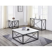 Skyler White Marble Top Square End Table Black 22x22x24