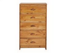 Heartland Flat Top 5 Drawer Chest with options: Honey Pine