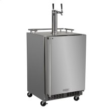 """Outdoor 24"""" Twin Tap Mobile Beer Dispenser - Marvel Refrigeration - Solid Stainless Steel Door With Lock - Right Hinge"""
