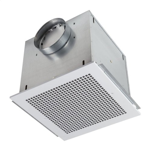 "Ceiling Mount Ventilator, High Capacity, 115 CFM Horizontal/Vertical, 0.9 Sones. Metal grille. 6"" rd. duct connector. 120V"