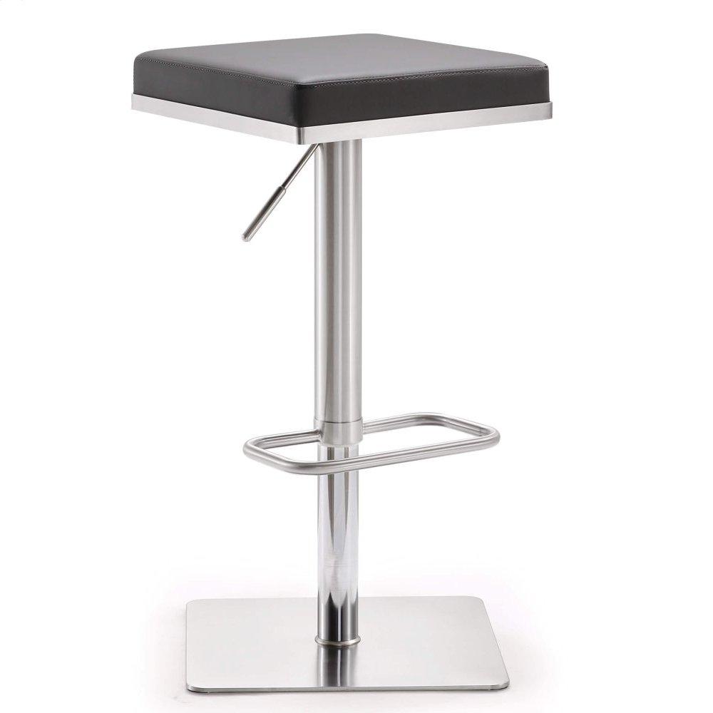 Bari Grey Stainless Steel Adjustable Barstool