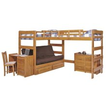 Heartland L-Shaped Futon Triple Bunk Bed with options: Honey Pine, 2 Twins Over Futon