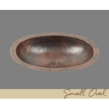 Solid Copper Small Oval Lavatory - Light Hammertone Pattern - Dark