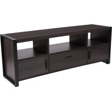 Thompson Collection Charcoal Wood Grain Finish TV Stand and Media Console with Black Metal Frame