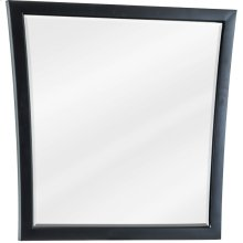 "25"" X 25"" Mirror with beveled glass and Black finish."