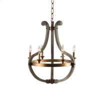 6-Light Grey Washed Wood Chandelier with Burnished Product Image
