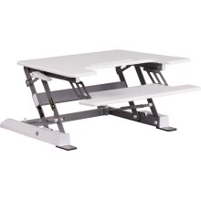 HERCULES Series 28.25''W White Sit \/ Stand Height Adjustable Ergonomic Desk with Height Lock Feature and Keyboard Tray